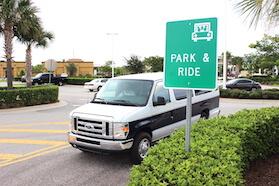 Van leaving Park & Ride lot