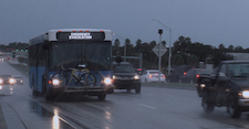 Bus driving in rain