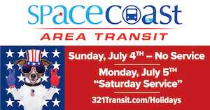 July 4th service changes are as follows: Sunday, July 4th - No Service and Monday July 5th -